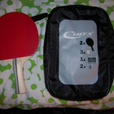2 Palete CUP'S, + 3 mingii, fileu cu suporti prindere masa si husa transport - Paleta ping pong