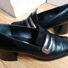 Pantofi din piele firma Tamaris marimea 39, arata ca noi! - Pantof dama Geox, Culoare: Negru, Piele naturala