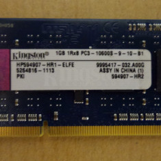 Ram Laptop KingstonDDR3 1Gb PC3 10600S 1333MHz HP594907-HR1-ELFE - Memorie RAM laptop