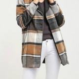 Palton din stofa - VILA - art. 14028885 carouri maro