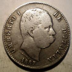 F.518 ITALIA UMBERTO I 1 LIRA 1887 M ARGINT 4, 85g, Europa