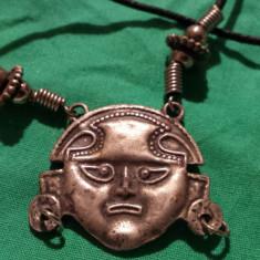 Medalion etnic Tribal Peru incastrat in colier margele Vintage Splendid de Efect