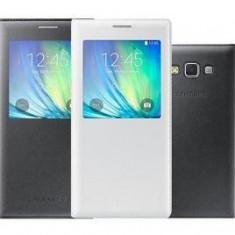 Samsung Galaxy A7 husa flip cover white edition cu logo pe embele fete - Husa Telefon Samsung, Alb