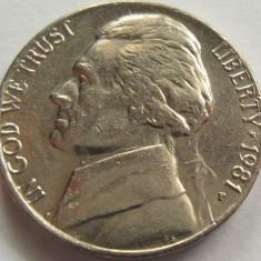 Moneda 5 Centi - SUA, anul 1981 *cod 2631, America de Nord