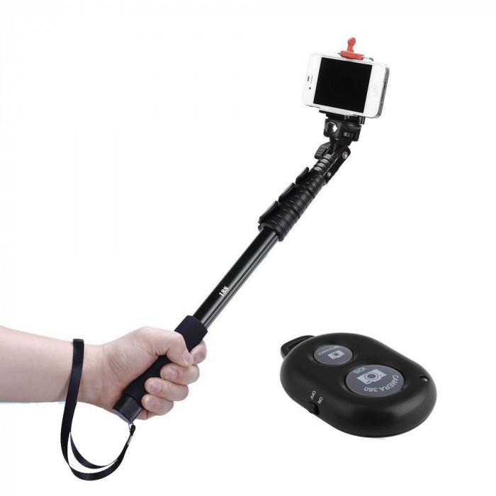 Selfie Stick si trepied Profesional Cu Telecomanda Bluetooth lungime 1.25 cm foto mare