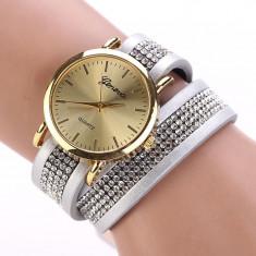 Ceas dama auriu bratara lucioasa cristale superb + cutie simpla cadou