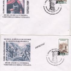 Bnk fil Set 2 plicuri Ploiesti 2001 400 ani de la uciderea lui Mihai Viteazul