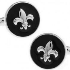 Butoni noi stil eleganti Lily FLOWER argintii + ambalaj cadou