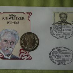 GERMANIA - FDC si Moneda 5 Mark 1975 Argint - Albert Schweitzer - 1993, Europa