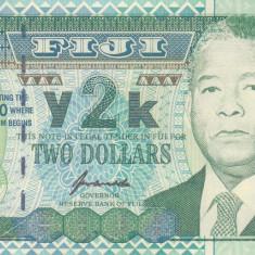 Bancnota Fiji 2 Dolari 2000 - P102 UNC (comemorativa - anul 2000)