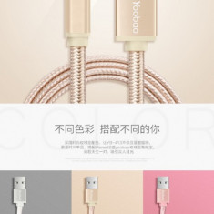 Cablu 8 Pin Lightning iPhone 5 5C 5S 6 6S 6 6S YB-413 Rose Gold Yoobao 1metru - Cablu de date Yoobao, iPhone 6