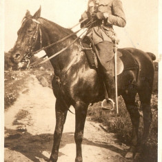 WW1 OFITER CU SABIE CAVALERIE ITALIANA CALARE PE CAL, Necirculata, Printata