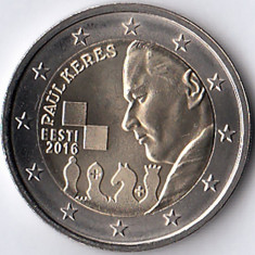 ESTONIA moneda 2 euro comemorativa 2016 - Paul Keres, UNC, Europa, Cupru-Nichel