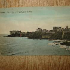 CARTE POSTALA ROMANIA CONSTANTA -O PARTE A ORASULUI SI MAREA CIRCULATA ANUL 1909 - Carte Postala Dobrogea 1904-1918, Printata
