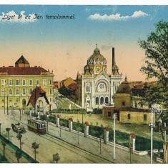 3244 - Timisoara, SYNAGOGUE, Tramway - old postcard - used - 1915 - Carte Postala Banat 1904-1918, Circulata, Printata