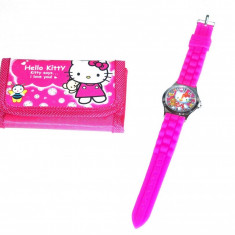 Set ceas de mana si portofel Hello Kitty - Ceas copii