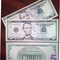SV * SUA / Statele Unite 5 DOLLARS (DOLARI ) 2009 AUNC+ - bancnota america
