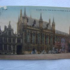 Carte postala circulata 1918 BRUGES Belgia La justice de Paix, Printata