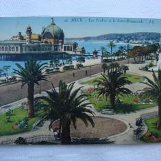 Carte postala circulata la 1928 - NICE - Les jardins et la Jettee Promenade, Franta, Printata