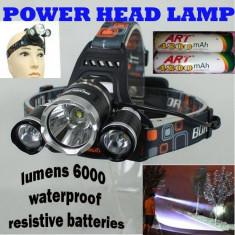 Super lanterna frontala, 6000 lumeni+2 acumulatori