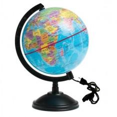 Glob Geografic Iluminat Albastru Mic