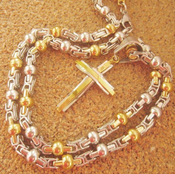 Lant +medalion  inox placat = 70 ron