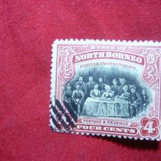 Timbru 4 C rosu si negru North Borneo colonie britanica ,stamp.1909