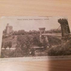 CRAIOVA - PARCUL BIBESCU, PODUL SUSPENDAT SI CASTELUL. - Carte Postala Oltenia 1904-1918, Circulata, Fotografie