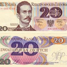 POLONIA 20 zloti 1982 UNC!!! - bancnota europa