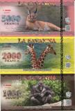 !!! LA SAVANNA - SET 1000 + 2000 + 5000 FRANCI 2015 - UNC