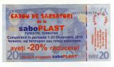 TICHET CADOU SABO PLAST 20 % REDUCERE ,VERSO COPIE 20 EURO