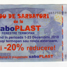 TICHET CADOU SABO PLAST 20 % REDUCERE, VERSO COPIE 20 EURO