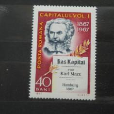 1967  LP 661  100 DE ANI DE LA APARITIA LUCRARII ''CAPITALUL DE KARL MARX