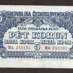 CEHOSLOVACIA 5 COROANE KORUN 1944 [3] P-46, XF++ - bancnota europa