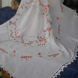 Fata de masa broderie manuala model floral. - Fata De Masa Antichitati