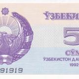 Bancnota Uzbekistan 5 Sum 1992 - P63a UNC - bancnota asia
