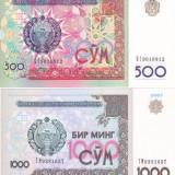 Bancnota Uzbekistan 500 si 1.000 Sum 1999/2001 - P81/82 UNC (set 2 bancnote) - bancnota asia