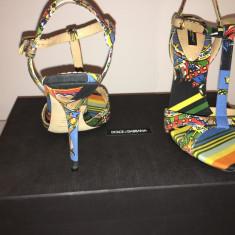 Sandale DOLCE&GABBANA 38, 5 - Sandale dama D&G, Culoare: Multicolor, Piele naturala