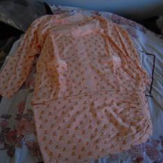 Pijama de dama, bluza si pantalon, portocaliu-floral, marime 46 (Mediu), NOUA - Pijamale dama, Culoare: Multicolor