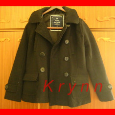 REDUCERE! Palton negru modern, marime S/M, cu gluga, primavara toamna