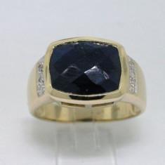 Inel aur 14ct cu diamante si lapis lazulli unisex, Carataj aur: 14k, Culoare: Galben