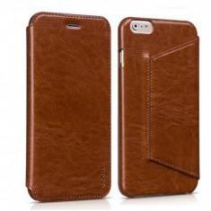 Husa piele fina HOCO Crystal ORIGINALA, iPHONE 6 PLUS, 6S PLUS FLIP cover, MARO - Husa Telefon