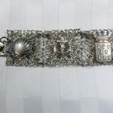 BRATARA VINTAGE - MODEL DEOSEBIT - METAL ARGINTAT - PATINA FRUMOASA