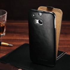 Husa / toc protectie piele fina HTC ONE M8S lux, tip flip cover, culoare: negru