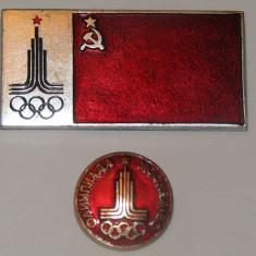 Lot 2 insigne Olimpiada Moscova 1980 - Insigna fotbal