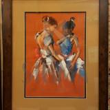 "TABLOU, RADU DARANGA "" BALERINE "" - grafica-tehnica mixta - Pictor roman"