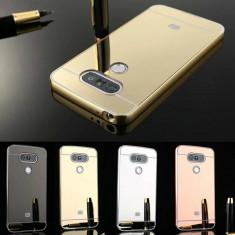 Husa / Bumper aluminiu + spate acril oglinda pentru Lg G5 / H850 - Bumper Telefon, Negru