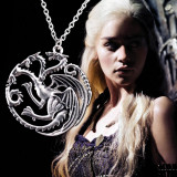 MEDALION  Colier  PANDANTIV  Lantisor  Game of Thrones Targaryen Dragon ARGINTIU