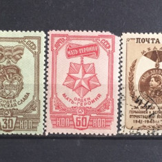 Rusia URSS 1945 lot timbre decoratii nestampilate si stampilate, Militar