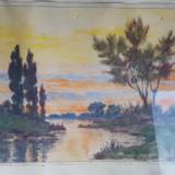 Tablou acuarela Peisaj natura semnat, anul 1932 - Pictor roman, Peisaje, Abstract